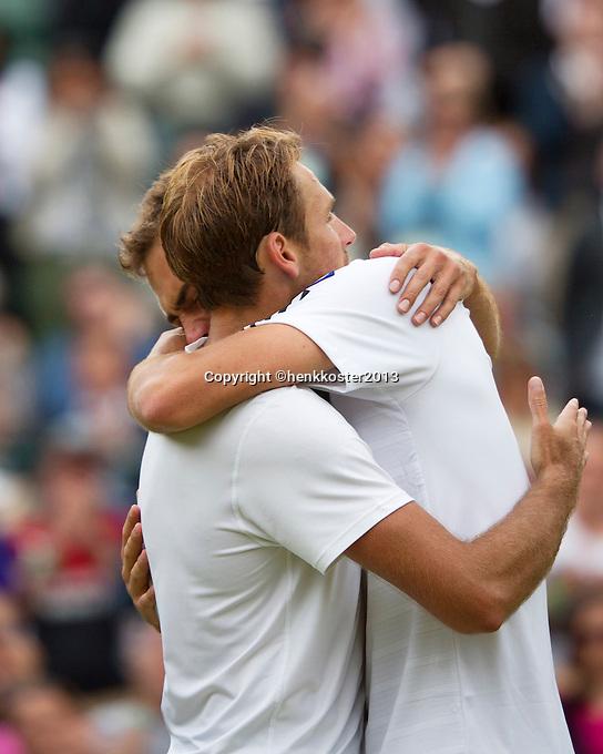 03-07-13, England, London,  AELTC, Wimbledon, Tennis, Wimbledon 2013, Day nine, Jerzy Janowicz (POL) wins his match against Lukasz Kubot (POL) and celebrates<br /> <br /> <br /> <br /> Photo: Henk Koster