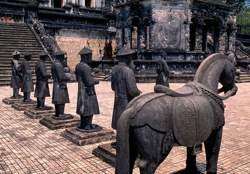 Stone Mandarin Honor Guards at Tomb of Khai Dinh Hue Vietnam.