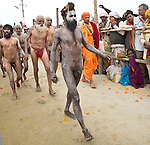 Procession of Sadhus (Holy Men) to take holy bath in Ganges River in Allahabad for Kumbh Mela Festival