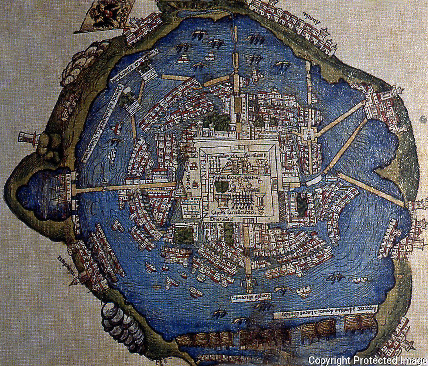 World Civilization:  Tenochtitlan--Map.  Hernan Cortes included this map in a letter to King Charles V.  ARCHAEOLOGY, Sept-Oct. '92.