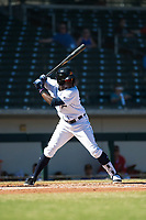 Mesa Solar Sox center fielder Daz Cameron (13), of the Detroit Tigers organization, at bat during an Arizona Fall League game against the Glendale Desert Dogs at Sloan Park on October 27, 2018 in Mesa, Arizona. Glendale defeated Mesa 7-6. (Zachary Lucy/Four Seam Images)
