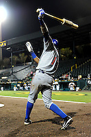 St. Lucie Mets outfielder Gilbert Gomez #17 on deck during a game against the Bradenton Marauders on April 12, 2013 at McKechnie Field in Bradenton, Florida.  St. Lucie defeated Bradenton 6-5 in 12 innings.  (Mike Janes/Four Seam Images)
