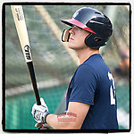 Right fielder Greyson Jenista (23) of the Rome Braves takes batting practice before a game against the Greenville Drive on Wednesday, July 11, 2018, at Fluor Field at the West End in Greenville, South Carolina. He is the Atlanta #Braves' 2018 second-round draft pick. (Tom Priddy/Four Seam Images)