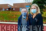 Maria and Ann Marie Tritschler, Tarbert, at Tarbert Comprehensive school on Wednesday.