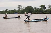 Mekong River<br /> , Vietnam - 2007 File Photo -<br /> <br /> <br />  three fishing boats on Mekong River. <br /> <br /> <br /> <br /> photo : James Wong-  Images Distribution