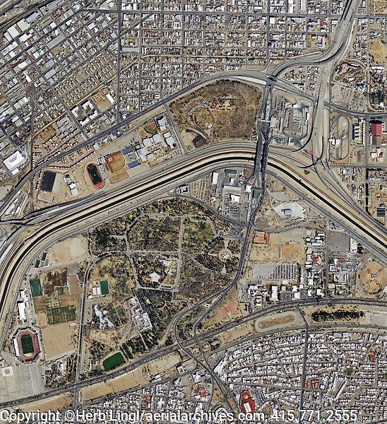 aerial photo map of Bridge of the Americas, El Paso, Texas and Ciudad Juarez, Mexico, 2019