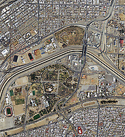 aerial photo map of Bridge of the Americas, El Paso, Texas and Ciudad Juarez, Mexico, 2019