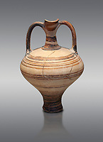 painted Mycenaean two handled jug with a tall neck, Mycenae Chamber Tomb 80, 14th-13th Cent BC.  National Archaeological Museum Athens. Cat no 3228.  Grey Background