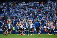 3rd October 2021;  RCDE Stadium, Barcelona, Spain: La Liga Football, Espanyol versus Real Madrid; <br /> RCD Espanyol players celebrete after the Liga match between RCD Espanyol and Real Madrid at RCDE Stadium in Cornella, Spain.