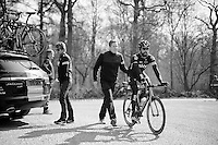 Bernie Eisel (AUT/SKY) off again after the Bois de Wallers-Arenberg sector<br /> <br /> 2015 Paris-Roubaix recon with Team SKY
