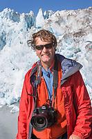 Guide and photographer Hugh Rose, Chenega glacier, Prince William Sound, Alaska.