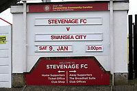 The sign advertising the match during Stevenage vs Swansea City, Emirates FA Cup Football at the Lamex Stadium on 9th January 2021
