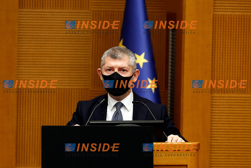Undersecretary for the Foreign affairs Ivan Scalfarotto during the press conference of Italia Viva party that officially opens the Government crisis. Indeed, ministers of his party ha resigned as protest.<br /> Rome(Italy), January 13th 2021<br /> Photo Samantha Zucchi/Insidefoto