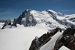 Base camp below Mont-Blanc seen from Aiguille du Midi, Chamonix-Mont-Blanc, France