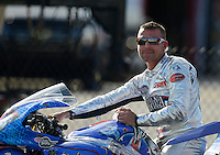 Sept 8, 2012; Clermont, IN, USA: NHRA pro stock motorcycle rider Shawn Gann during qualifying for the US Nationals at Lucas Oil Raceway. Mandatory Credit: Mark J. Rebilas-