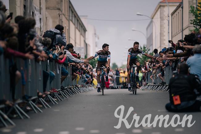 Pierre Latour (FRA/AG2R-LaMondiale) & Oliver Naesen (BEL/AG2R mondiale) at the Team presentation in La Roche-sur-Yon<br /> <br /> Le Grand Départ 2018<br /> 105th Tour de France 2018<br /> ©kramon