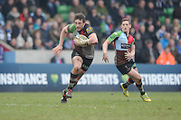 20130309 Copyright onEdition 2013©.Free for editorial use image, please credit: onEdition..Tom Guest of Harlequins spots a gap in midfield during the LV= Cup semi final match between Harlequins and Bath Rugby at The Twickenham Stoop on Saturday 9th March 2013 (Photo by Rob Munro)..For press contacts contact: Sam Feasey at brandRapport on M: +44 (0)7717 757114 E: SFeasey@brand-rapport.com..If you require a higher resolution image or you have any other onEdition photographic enquiries, please contact onEdition on 0845 900 2 900 or email info@onEdition.com.This image is copyright onEdition 2013©..This image has been supplied by onEdition and must be credited onEdition. The author is asserting his full Moral rights in relation to the publication of this image. Rights for onward transmission of any image or file is not granted or implied. Changing or deleting Copyright information is illegal as specified in the Copyright, Design and Patents Act 1988. If you are in any way unsure of your right to publish this image please contact onEdition on 0845 900 2 900 or email info@onEdition.com