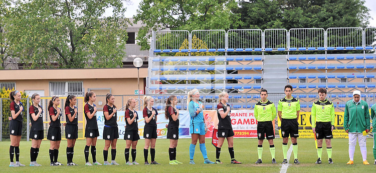 Monfalcone, Italy, April 26, 2016.<br /> USA's players during the national anthem ahead of USA v Iran football match at Gradisca Tournament of Nations (women's tournament). Monfalcone's stadium.<br /> © ph Simone Ferraro / Isiphotos