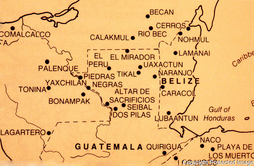 World Civilization:  Map of Mesoamerica, detail of Mayan regions.  William L. Fash, SCRIBES, WARRIORS AND KINGS: THE CITY OF COPAN AND THE ANCIENT MAYA.  1991, Thames & Hudson.