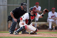 Ball State Cardinals catcher Jarett Rindfleisch (25) waits for a pitch in front of the umpire during a game against the Maine Black Bears on March 3, 2015 at North Charlotte Regional Park in Port Charlotte, Florida.  Ball State defeated Maine 8-7.  (Mike Janes/Four Seam Images)