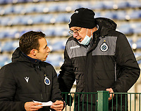 Assistant Coach Sasha Santens of Club Brugge and Head Coach Leo Van Der Elst of Club Brugge pictured before female soccer game between FC Femina White Star Woluwe and Club Brugge YLA on the eleventh matchday of the 2020 - 2021 season of Belgian Scooore Womens Super League , Friday 22 January 2021  in Woluwe , Belgium . PHOTO SPORTPIX.BE   SPP   SEVIL OKTEM