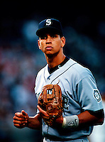 Alex Rodriguez of the Seattle Mariners plays in a baseball game at Edison International Field during the 1998 season in Anaheim, California. (Larry Goren/Four Seam Images)