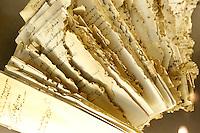 """Documenti danneggiati da insetti e roditori, esposti alla mostra """"Lux in Arcana - L'Archivio Segreto Vaticano si rivela"""", ai Musei Capitolini di Roma..Documents damaged by insects and rodents, displayed at the exhibition """"Lux in Arcana - The Vatican Secret Archive reveals itself"""" at Rome's Capitoline Museums. .UPDATE IMAGES PRESS/Riccardo De Luca"""