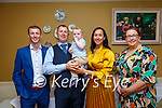 Baby Sean with his parents Patrick & Sinead MacEntee, Abbeyfeale and his god partents Stephen Reidy & Siobhan Weir who was christened in Abbeyfeale Church by Fr. Mullins on Saturday last and afterwards at the Listowel Arms Hotel.