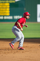 Chris Chinea (22) of the Johnson City Cardinals takes his lead off of second base against the Elizabethton Twins at Joe O'Brien Field on July 11, 2015 in Elizabethton, Tennessee.  The Twins defeated the Cardinals 5-1. (Brian Westerholt/Four Seam Images)