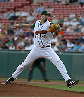 July 30, 2005:  Pitcher Jason Davis of the Buffalo Bisons during a game at Dunn Tire Park in Buffalo, NY.  Buffalo is the International League Triple-A affiliate of the Cleveland Indians.  Photo by:  Mike Janes/Four Seam Images