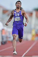 Jared Love of Stephen F. Austin competes in 100 meter prelims during West Preliminary Track and Field Championships, Friday, May 29, 2015 in Austin, Tex. (Mo Khursheed/TFV Media via AP Images)