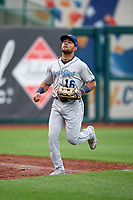 Corpus Christi Hooks left fielder Jason Martin (16) tracks a fly ball during a game against the Springfield Cardinals on May 31, 2017 at Hammons Field in Springfield, Missouri.  Springfield defeated Corpus Christi 5-4.  (Mike Janes/Four Seam Images)