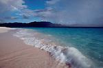 British Virgin Islands, Sandy Cay, Rain squall, Uninhabited island, rainbow, Caribbean Sea, Central America.