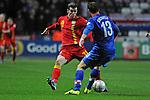 FIFA 2014 World Cup Qualifier - Wales v Croatia - Swansea - 26th March 2013 : Gareth Bale of Wales takes on Gordon Schildenfeld of Croatia.