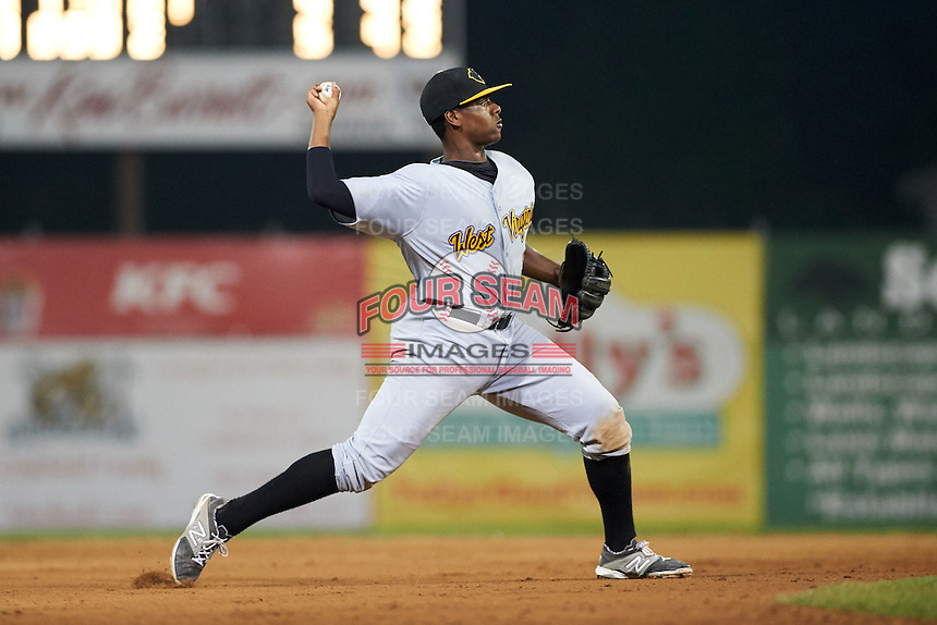 West Virginia Black Bears third baseman Ke'Bryan Hayes (3) throws to first during a game against the Batavia Muckdogs on August 31, 2015 at Dwyer Stadium in Batavia, New York.  Batavia defeated West Virginia 5-4.  (Mike Janes/Four Seam Images)
