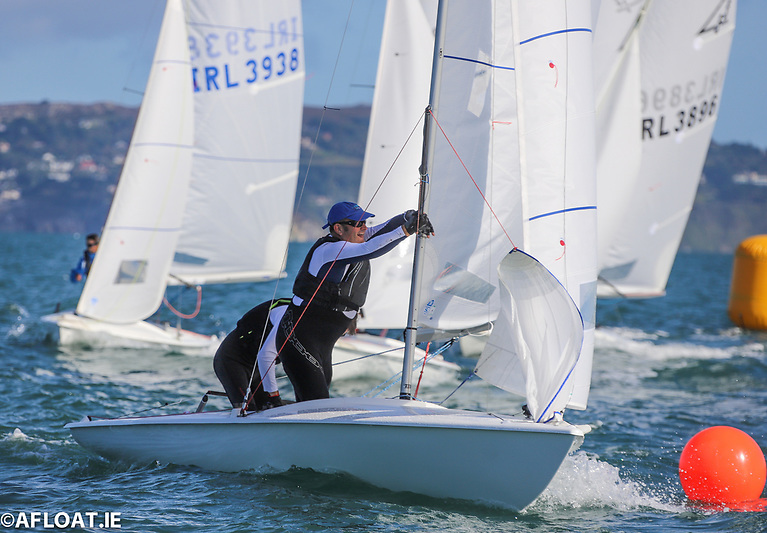 Nigel Biggs and Peter Evans rounding the top mark at the Flying Fifteen East Coasts flying their 100% North Sails inventory