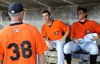 Pitcher Dylan Bundy (6), center, of the Frederick Keys talks with pitching coach Blaine Beatty (38), left, and starting pitcher Tyler Wilson (26), right, in the dugout in a game against the Myrtle Beach Pelicans on August 4, 2012, at TicketReturn.Com Field in Myrtle Beach, South Carolina. Myrtle Beach won, 4-3. Bundy is the Baltimore Orioles' No. 1 prospect, according to Baseball America. (Tom Priddy/Four Seam Images)