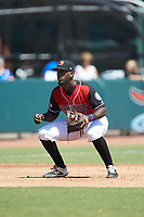 Hickory Crawdads third baseman Sherten Apostel (13) on defense against the Charleston RiverDogs at L.P. Frans Stadium on May 13, 2019 in Hickory, North Carolina. The Crawdads defeated the RiverDogs 7-5. (Brian Westerholt/Four Seam Images)