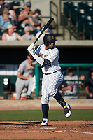 Diego Infante (13) of the Charleston RiverDogs at bat against the Augusta GreenJackets at Joseph P. Riley, Jr. Park on June 27, 2021 in Charleston, South Carolina. (Brian Westerholt/Four Seam Images)