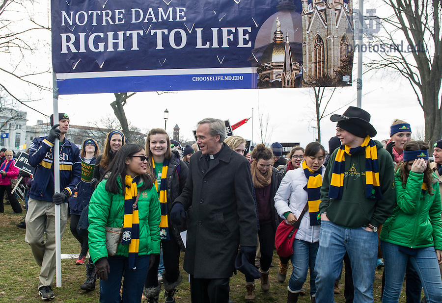 Jan. 22, 2015; University president Rev. John Jenkins C.S.C,. marches with Notre Dame students at the 2015 March for Life in Washington, D.C. Some 700 University of Notre Dame students, faculty, staff and alumni participated in the 2015 March for Life, which this year observes the 42nd anniversary of the Supreme Court's 1973 Roe v. Wade decision legalizing abortion. (Photo by Barbara Johnston/University of Notre Dame)