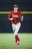 GCL Phillies center fielder Mickey Moniak (15) jogs to the dugout during the second game of a doubleheader against the GCL Blue Jays on August 15, 2016 at Florida Auto Exchange Stadium in Dunedin, Florida.  GCL Phillies defeated the GCL Blue Jays 4-0.  (Mike Janes/Four Seam Images)
