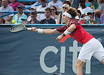 July 23,2016:   Alexander Zverev (GER) loses to Gael Monfils (FRA) 6-4, 6-0, at the Citi Open being played at Rock Creek Park Tennis Center in Washington, DC, .  ©Leslie Billman/Tennisclix