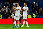 Eden Hazard (L) and Carlos Henrique Casimiro (R) of Real Madrid celebrate the victory after La Liga match between Real Madrid and CD Leganes at Santiago Bernabeu Stadium in Madrid, Spain. October 30, 2019. (ALTERPHOTOS/A. Perez Meca)