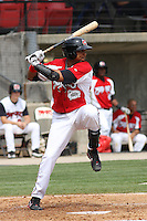 Luis Terrero #39 of the Carolina Mudcats hitting during a game against the Tennessee Smokies on April 20, 2010 in Zebulon, NC.