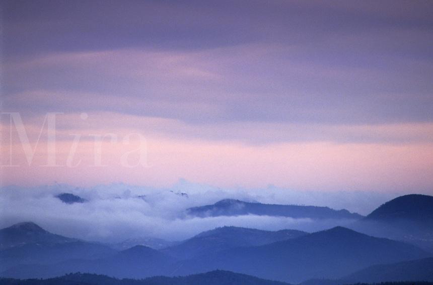 Winter sunrise over the Massif de l'Esterel. Var, Provence, France