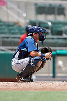 GCL Rays catcher Nate Soria (50) awaits a pitch during a game against the GCL Red Sox on August 1, 2018 at JetBlue Park in Fort Myers, Florida.  GCL Red Sox defeated GCL Rays 5-1 in a rain shortened game.  (Mike Janes/Four Seam Images)