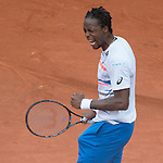 Gael Monfils (FRA) defeats Victor Hanescu (ROU) 6-2, 4-6, 6-4, 6-2 at  Roland Garros being played at Stade Roland Garros in Paris, France on May 27, 2014