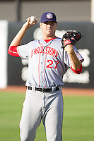 Hagerstown Suns starting pitcher Lucas Giolito (27) warms up in the outfield prior to the game against the Greensboro Grasshoppers at NewBridge Bank Park on June 21, 2014 in Greensboro, North Carolina.  The Grasshoppers defeated the Suns 8-4. (Brian Westerholt/Four Seam Images)