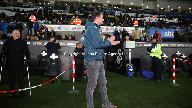 Former Swansea City player Ferrie Bodde waves to the fans prior to kick off of the Premier League match between Swansea City and Manchester City at the Liberty Stadium, Swansea, Wales, UK. 13 December 2017