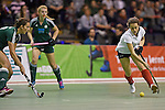 Berlin, Germany, February 01: Tessa Schubert #28 of Duesseldorfer HC dribbles the ball during the 1. Bundesliga Damen Hallensaison 2014/15 final hockey match between Duesseldorfer HC (white) and HTC Uhlenhorst Muehlheim (green) on February 1, 2015 at the Final Four tournament at Max-Schmeling-Halle in Berlin, Germany. Final score 4-1 (1-0). (Photo by Dirk Markgraf / www.265-images.com) *** Local caption ***